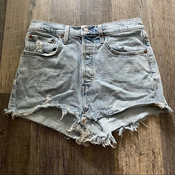 Levi's   501 Button Fly Cut Off Shorts Hi Rise